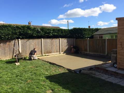 Laying a concrete base