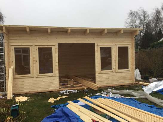 Oxford log cabin installation