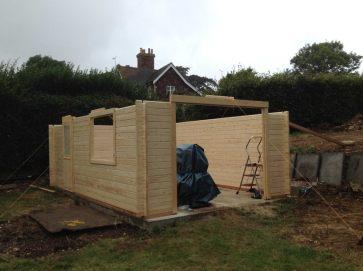 wooden garage installation